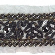 Black Bead and Net Applique